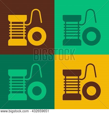 Pop Art Spinning Reel For Fishing Icon Isolated On Color Background. Fishing Coil. Fishing Tackle. V