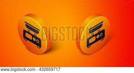Isometric Electronic Scales Icon Isolated On Orange Background. Weight Measure Equipment. Orange Cir