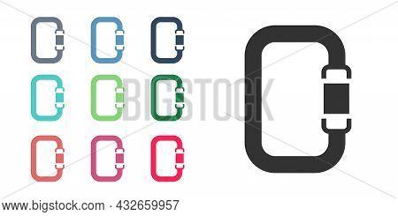 Black Carabiner Icon Isolated On White Background. Extreme Sport. Sport Equipment. Set Icons Colorfu
