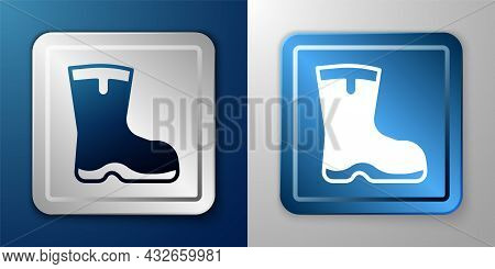 White Fishing Boots Icon Isolated On Blue And Grey Background. Waterproof Rubber Boot. Gumboots For