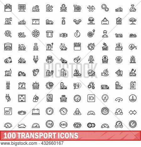 100 Transport Icons Set. Outline Illustration Of 100 Transport Icons Vector Set Isolated On White Ba