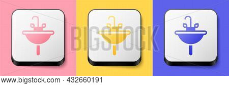 Isometric Washbasin With Water Tap Icon Isolated On Pink, Yellow And Blue Background. Square Button.
