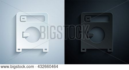 Paper Cut Washer Icon Isolated On Grey And Black Background. Washing Machine Icon. Clothes Washer -