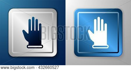White Rubber Gloves Icon Isolated On Blue And Grey Background. Latex Hand Protection Sign. Housework