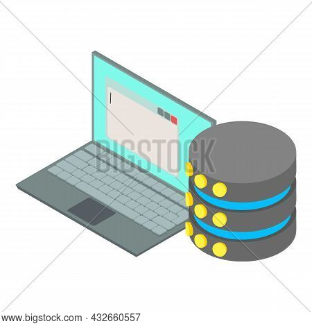 Database Icon Isometric Vector. Open Personal Laptop And Storage Database. Computer Technology, Data