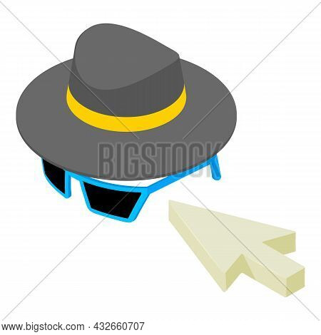 Online Anonymity Icon Isometric Vector. Mouse Cursor, Men Hat And Sunglasses. Modern Technology, Int