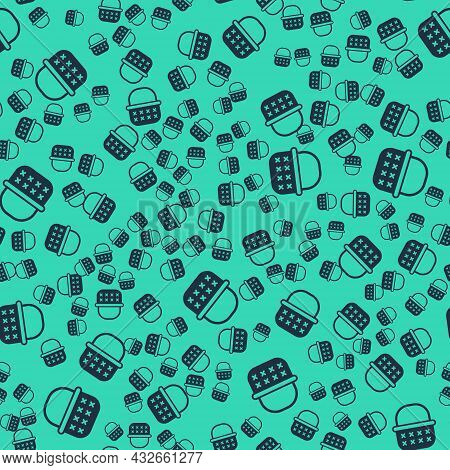Black Wicker Basket Icon Isolated Seamless Pattern On Green Background. Vector