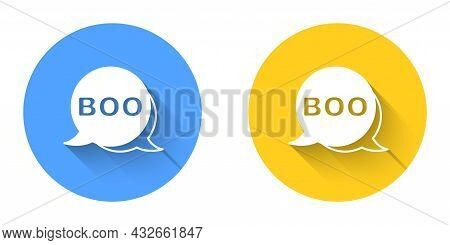 White Boo Speech Bubble Icon Isolated With Long Shadow Background. Happy Halloween Party. Circle But