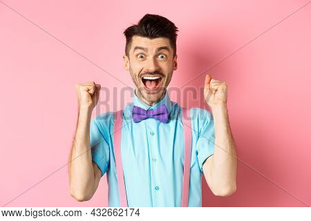 Happy Guy Winning Prize, Screaming With Joy Yes, Shaking Hands And Celebrating Victory, Achieve Succ