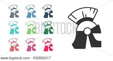 Black Roman Army Helmet Icon Isolated On White Background. Set Icons Colorful. Vector