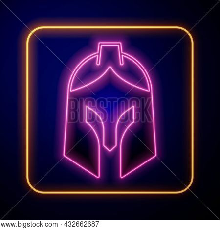 Glowing Neon Roman Army Helmet Icon Isolated On Black Background. Vector
