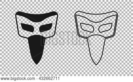 Black Carnival Mask Icon Isolated On Transparent Background. Masquerade Party Mask. Vector