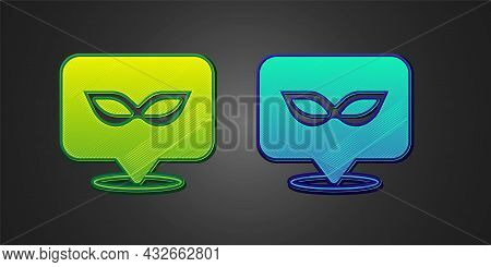 Green And Blue Carnival Mask Icon Isolated On Black Background. Masquerade Party Mask. Vector
