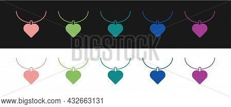 Set Necklace With Heart Shaped Pendant Icon Isolated On Black And White Background. Jewellery Decora