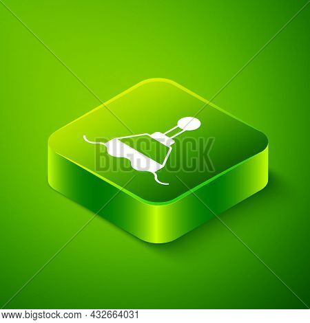 Isometric Floating Buoy On The Sea Icon Isolated On Green Background. Green Square Button. Vector