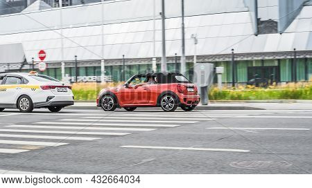 Moscow, Russia - July 2021: Mini John Cooper Works Cabrio, Model Year 2018. Soft Top Convertible Sma