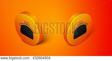Isometric Wallet Icon Isolated On Orange Background. Purse Icon. Cash Savings Symbol. Orange Circle