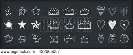 Set Of Hand Drawn Doodle Objects - Stars, Crown And Hearts, Vector Eps10 Illustration