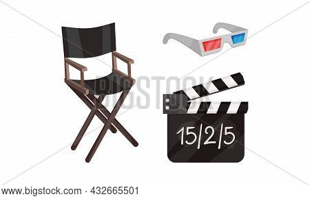Cinema Elements With Director Chair And 3d Glasses Vector Composition Set