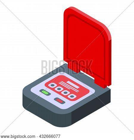 Heart Cpr Icon Isometric Vector. Defibrillator Aed. Cardiac Emergency