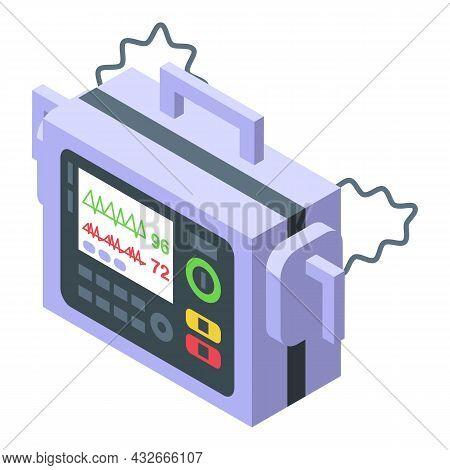 Cardioverter Icon Isometric Vector. Heart Defibrillator. Cardiac Aed