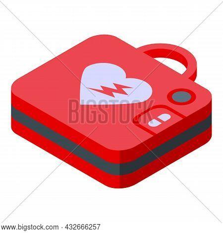 Ambulance Defibrillator Icon Isometric Vector. Heart Aed. Cardiac Cpr