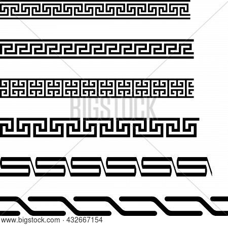 Seamless Meander Or Maze Border On Isolated White Background. Simple Antique Labyrinth Pattern Perfe