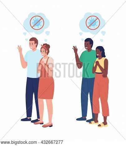 Happy Partners Semi Flat Color Vector Character Set. Parents Figures. Full Body People On White. Aft