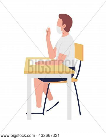 Boy In Mask At School Lesson Semi Flat Color Vector Character. Schoolboy Figure. Full Body Person On