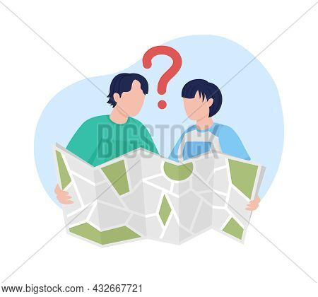 Tourists With Map 2d Vector Isolated Illustration. Trakkers Looking For Route. Boyfriend And Girlfri