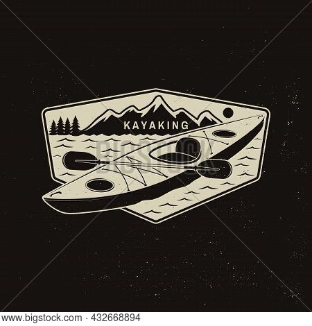 Kayaking. Outdoor Adventure. Vector Illustration. Concept For Shirt Or Logo, Print, Stamp Or Tee. Vi