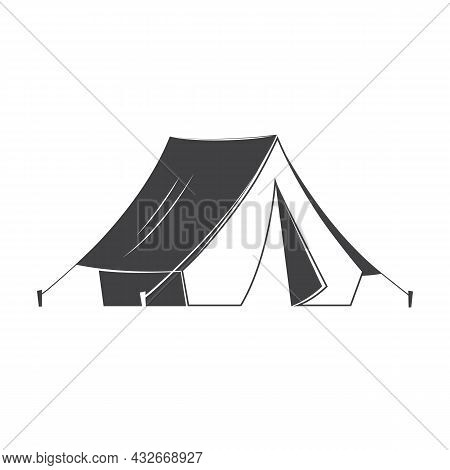 Camping Tent Silhoutte On White Background. Vector Illustration. Retro Tourist Camp Tent With A Cano
