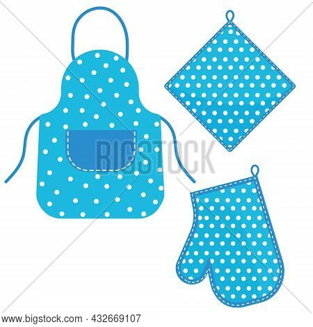 Oven Mitt And Oven Mitt And Apron Hanging On The Rack On Hooks, Color Isolated Vector Illustration I