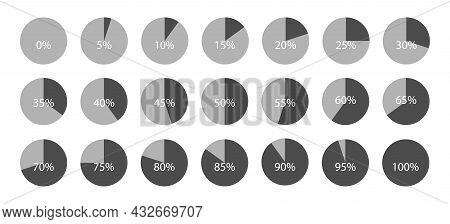 Circle Percent Diagram Collection. Set Of Infographic Percentage Pie Charts. Segment Of Circle Icons