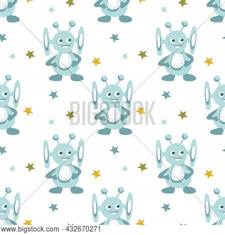 Seamless Pattern Of Alien Cute Monsters And Galactic Stars. Vector Flat Illustration.