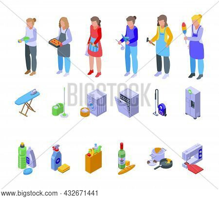 Housewife Icons Set Isometric Vector. Woman Housekeeper. Cleaner Girl