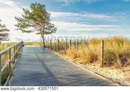 Coastal Promenade Along Beach In Hel Town On Coast Of Baltic Sea, Poland. Hel Peninsula Is Popular P