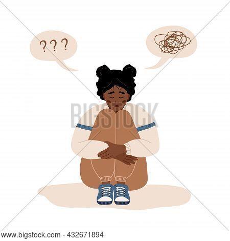 Mental Health Concept. Lonely African Woman Sitting On Floor And Hugging Knees. Depressed Teenager N