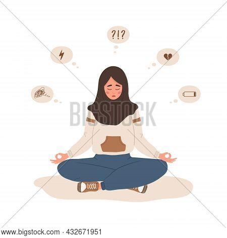 Mood Disorder. Sad Islamic Woman Sitting In Lotus Position. Mental Health. Symptoms Of Schizophrenia