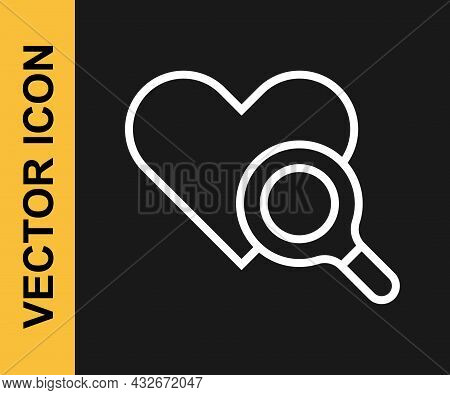 White Line Medical Heart Inspection Icon Isolated On Black Background. Heart Magnifier Search. Vecto