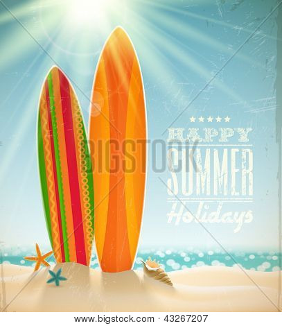 Vector holidays vintage design - surfboards on a beach against a sunny seascape poster