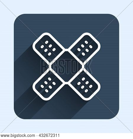 White Line Crossed Bandage Plaster Icon Isolated With Long Shadow Background. Medical Plaster, Adhes