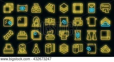 Handkerchief Icons Set. Outline Set Of Handkerchief Vector Icons Neon Color On Black