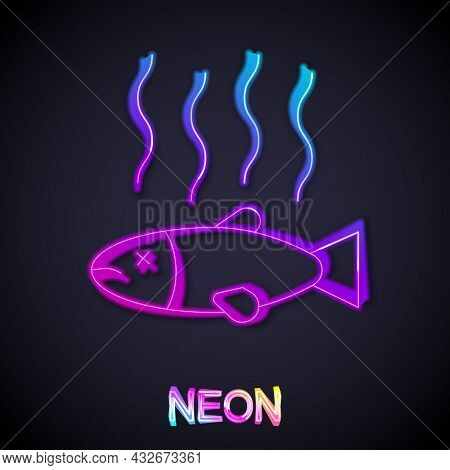 Glowing Neon Line Dead Fish Icon Isolated On Black Background. Rotten Fish. Vector