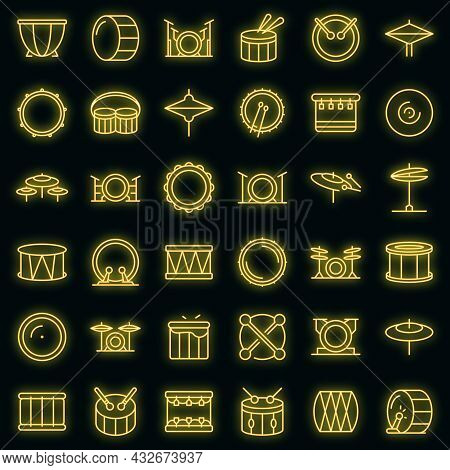 Drum Icons Set. Outline Set Of Drum Vector Icons Neon Color On Black