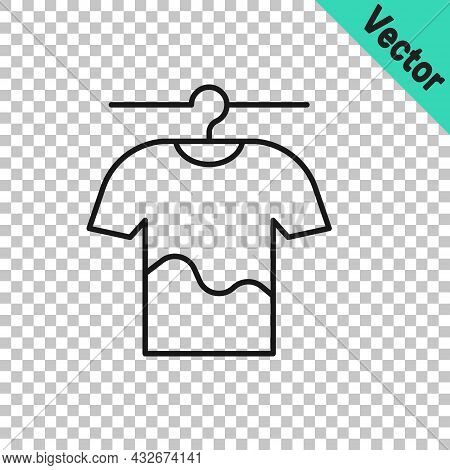 Black Line Drying Clothes Icon Isolated On Transparent Background. Clean Shirt. Wash Clothes On A Ro