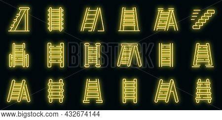 Step Ladder Icons Set. Outline Set Of Step Ladder Vector Icons Neon Color On Black