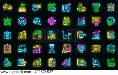 Market Forecast Icons Set. Outline Set Of Market Forecast Vector Icons Neon Color On Black