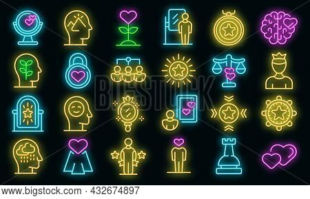 Self-esteem Icons Set. Outline Set Of Self-esteem Vector Icons Neon Color On Black