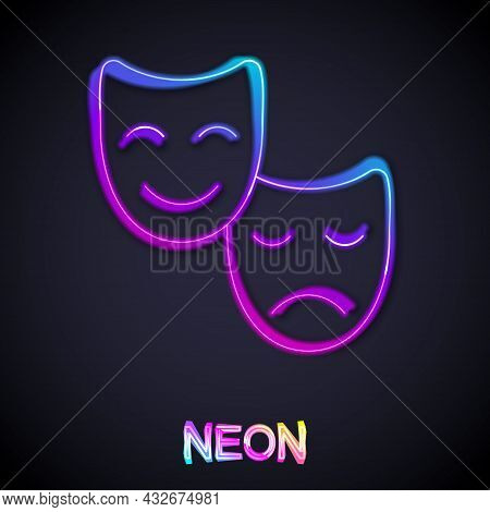 Glowing Neon Line Comedy And Tragedy Theatrical Masks Icon Isolated On Black Background. Vector